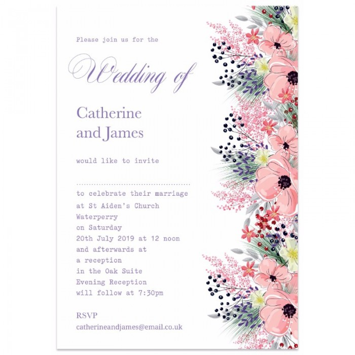 Wedding Invite Borders: Floral Border Wedding Invitations