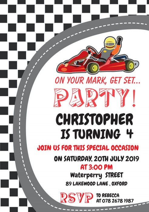 On Your Mark Get Set Birthday Party Invitation
