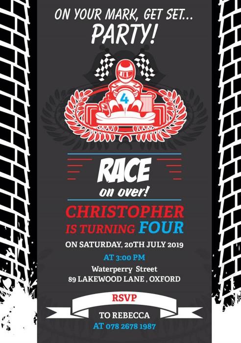 Race Game Birthday Party Invitation
