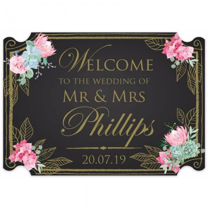 Gold Floral Chalkboard Shaped Welcome Sign