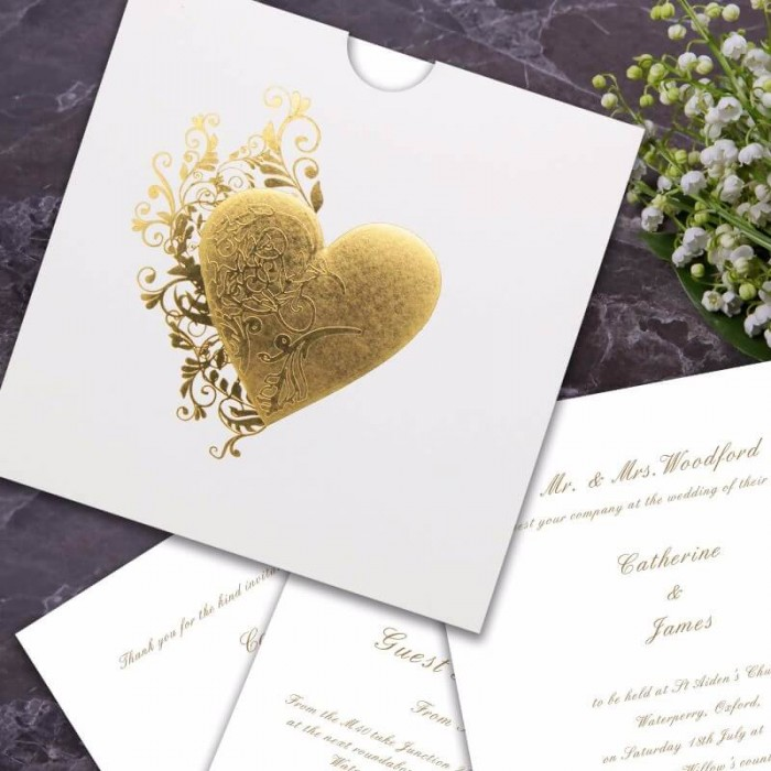 Fluted Heart Wedding Invitation