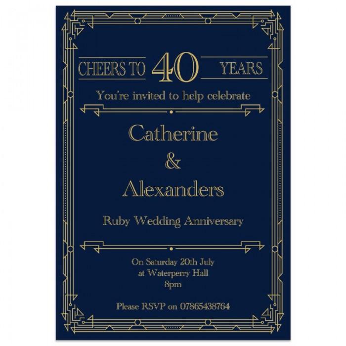 Gatsby Wedding Anniversary Invitations