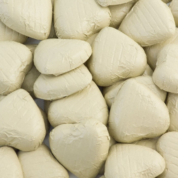 Ivory Milk Chocolate Foiled Mini Hearts - 500g Pack 100 pcs