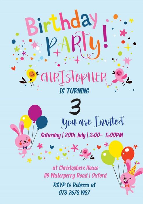 Cute Rabbits Birthday Party Invitation