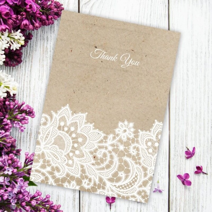 Wedding Lace Thank You Card
