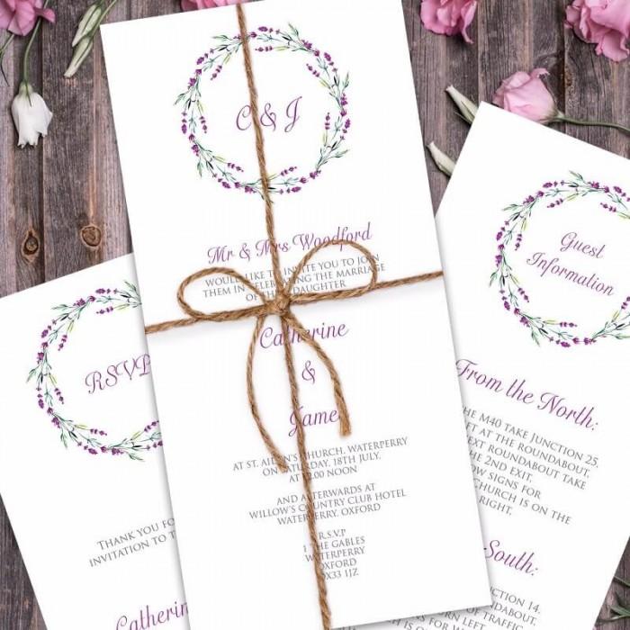 Lavender Wedding Invitation | Paper Themes Wedding Invites