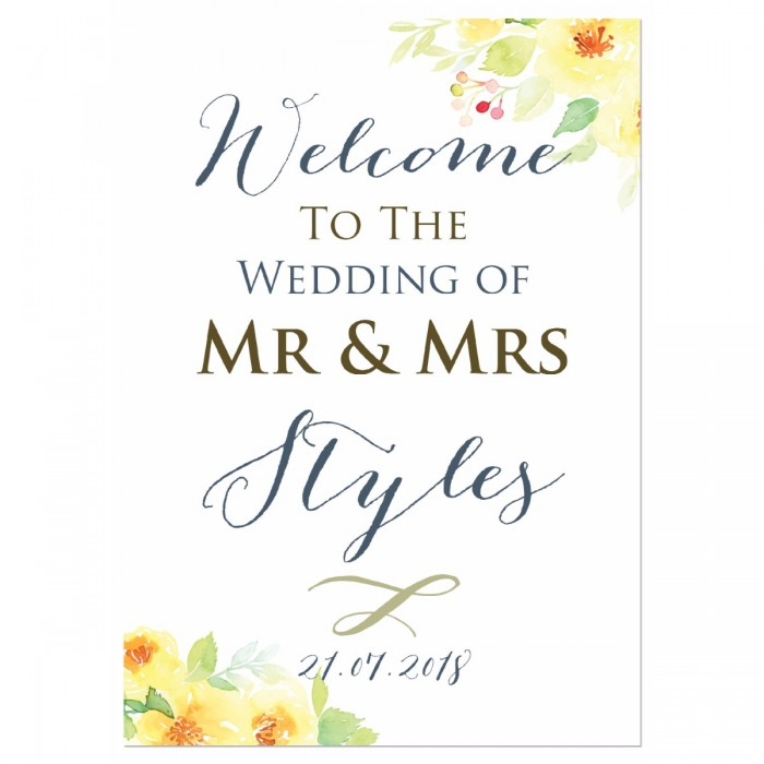 Lemon Blossoms Large Wedding Sign