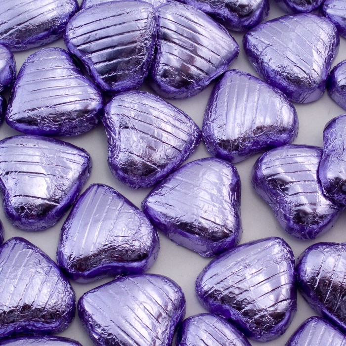 Lilac Milk Chocolate Foiled Mini Hearts - 500g Pack 100 pcs