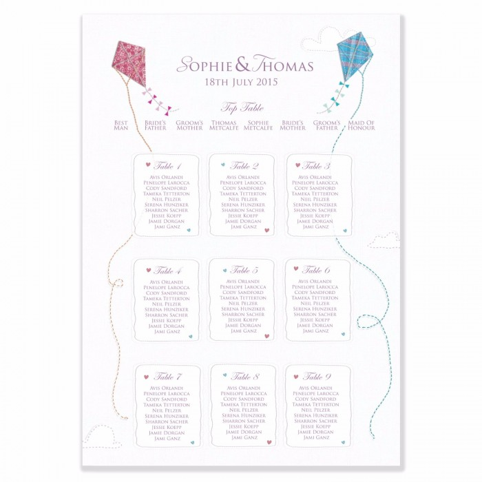 Love Me Tender Wedding Table Plan