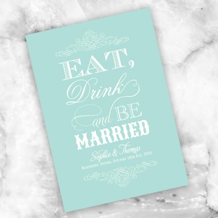 Mint Eat Drink & Be Married Save the Date Card