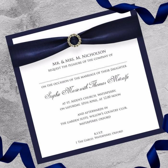 Navy Diamante Buckle Wedding Invitation