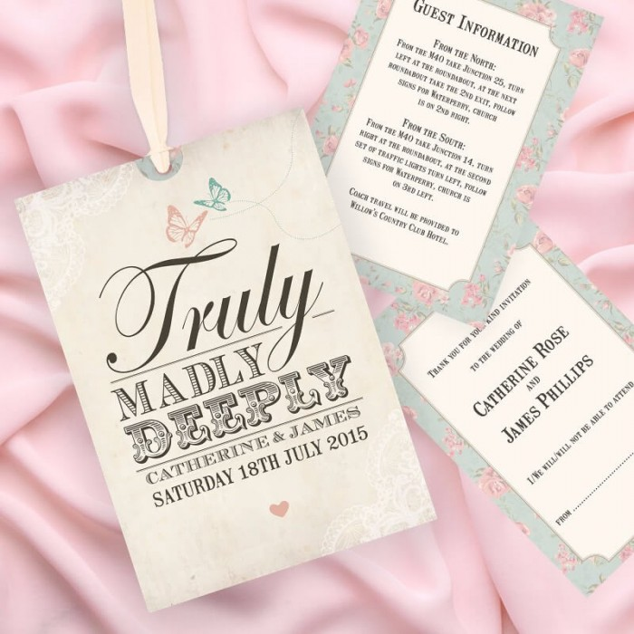 Truly Madly Deeply Wedding Invitation | Paper Themes Wedding Invites