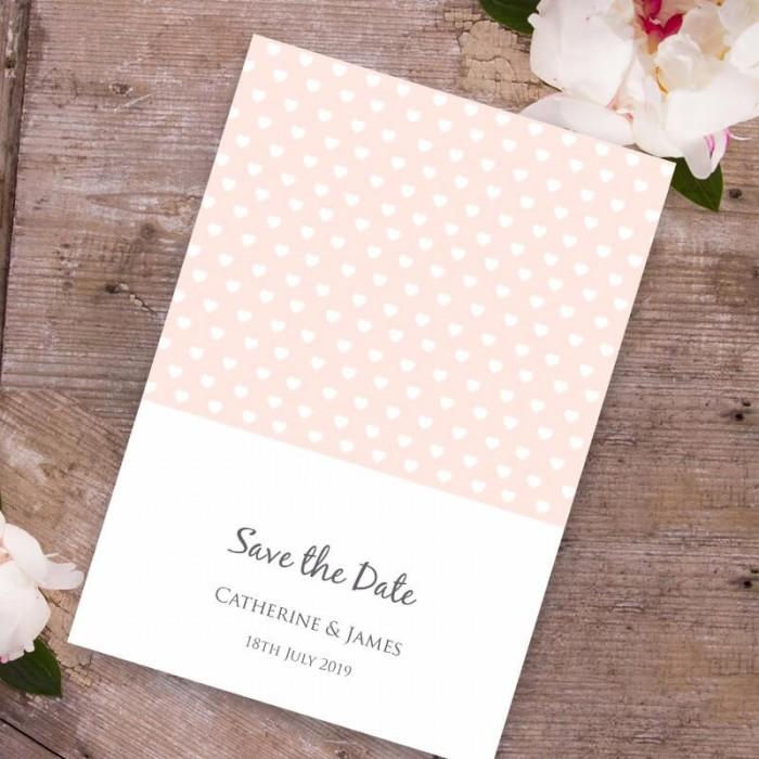 Peach Polka Dot Hearts Save the Date Card