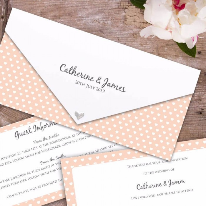 peach polka dot hearts wedding invitation paper themes wedding invites