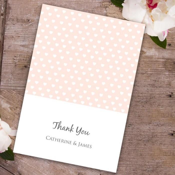 Peach Polka Dot Hearts Thank You Card