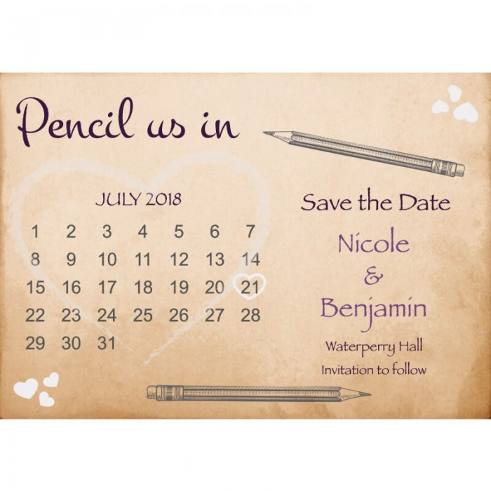 Pencil Us In Save the Date Card