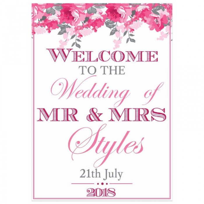 Peonies Welcome Sign