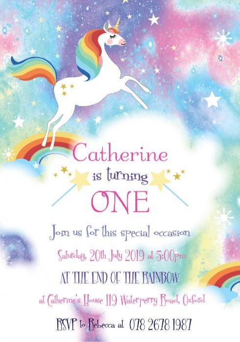 Beautiful Unicorn Birthday Party Invitation