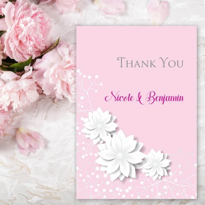 Pink Summer Blossom Thank You Card