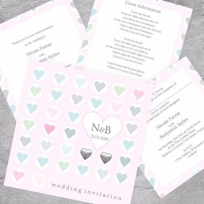Classic Hearts Wedding Invitation