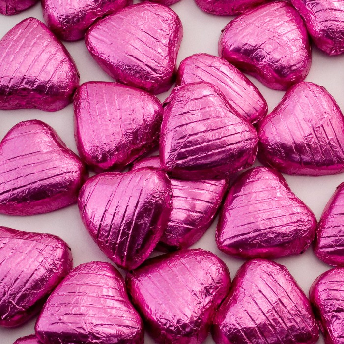 Pink Milk Chocolate Foiled Mini Hearts - 500g Pack 100 pcs