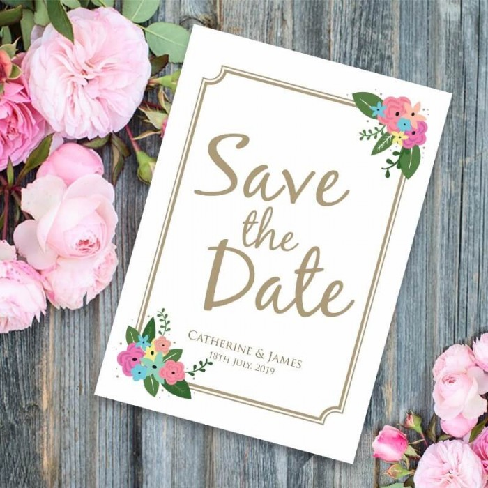 Pretty Posy Save the Date Card