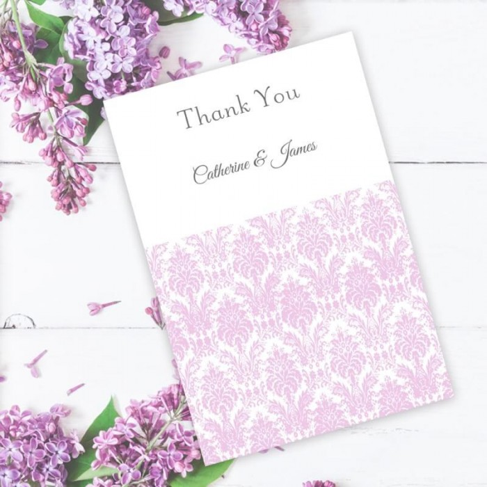 Purple Eternity Thank You Card Paper Themes Wedding Invites