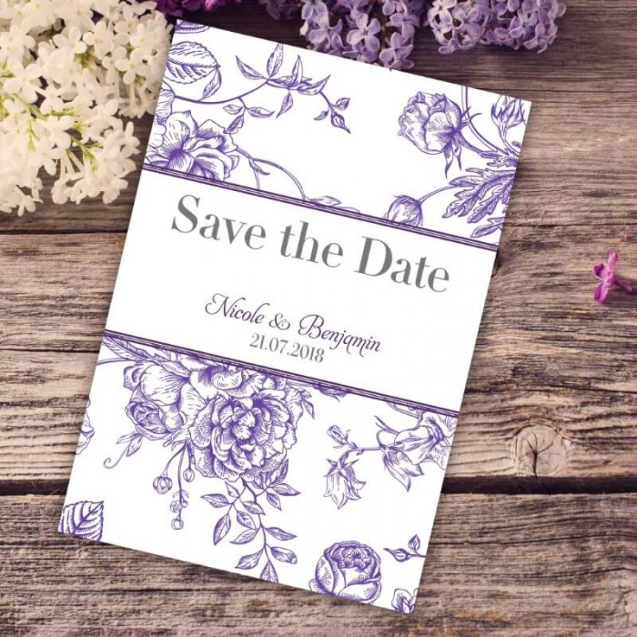 Purple Floral Romance Save the Date Card