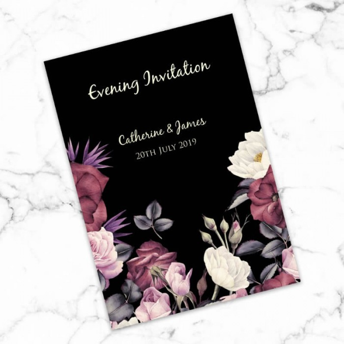 Purple Rose Garden Evening Invitation