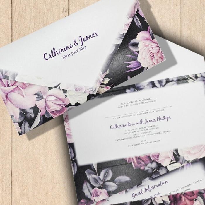 Purple Rose Garden Wedding Invitation