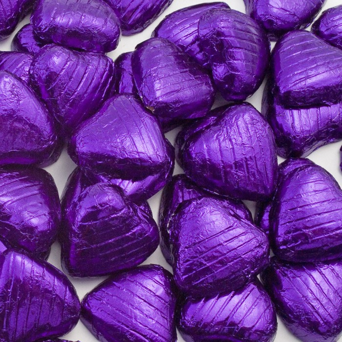 Purple Milk Chocolate Foiled Mini Hearts - 500g Pack 100 pcs