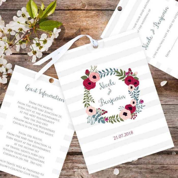Red Floral Wreath Wedding Invitation