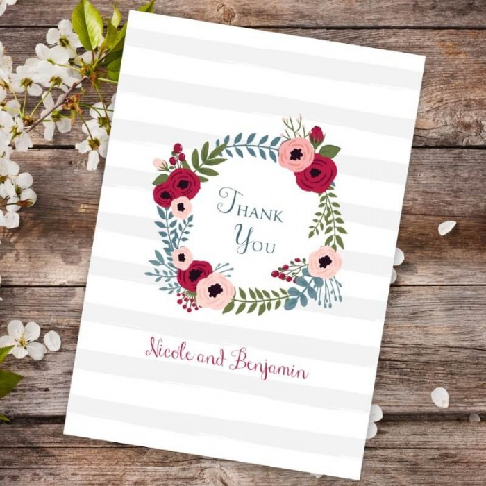 Red Floral Wreath Thank You Card