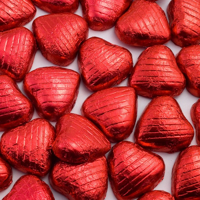 Red Milk Chocolate Foiled Mini Hearts - 500g Pack 100 pcs