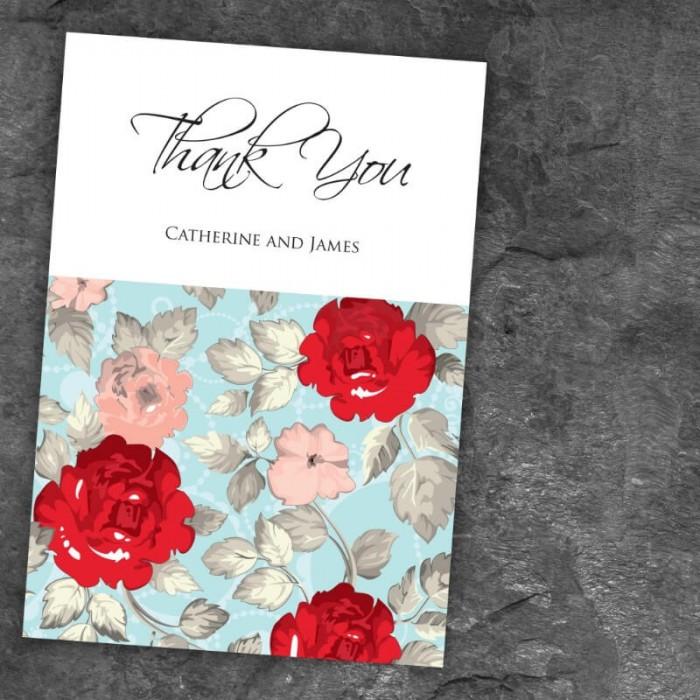 Retro Rose Thank You Card