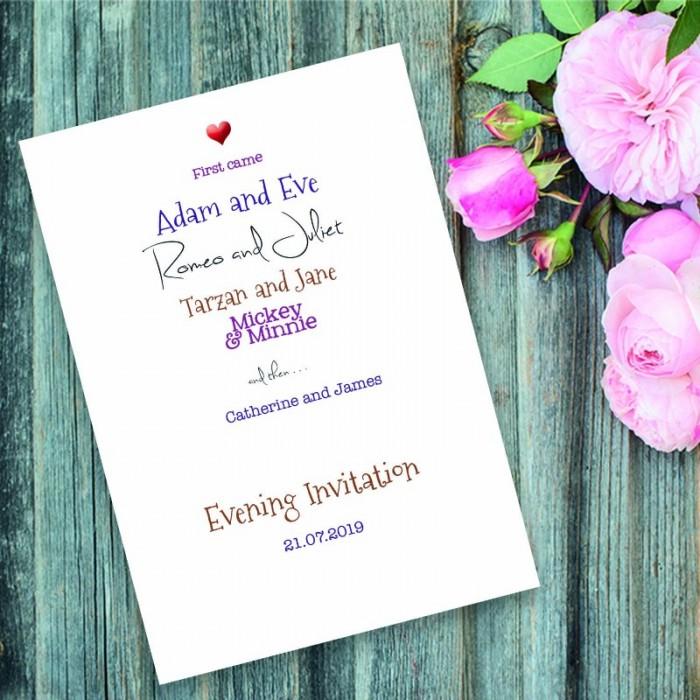 romeo  u0026 juliet evening invitation