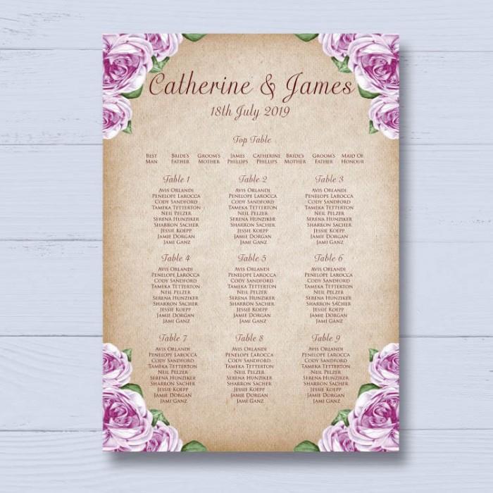 Rosebud Wedding Table Plan