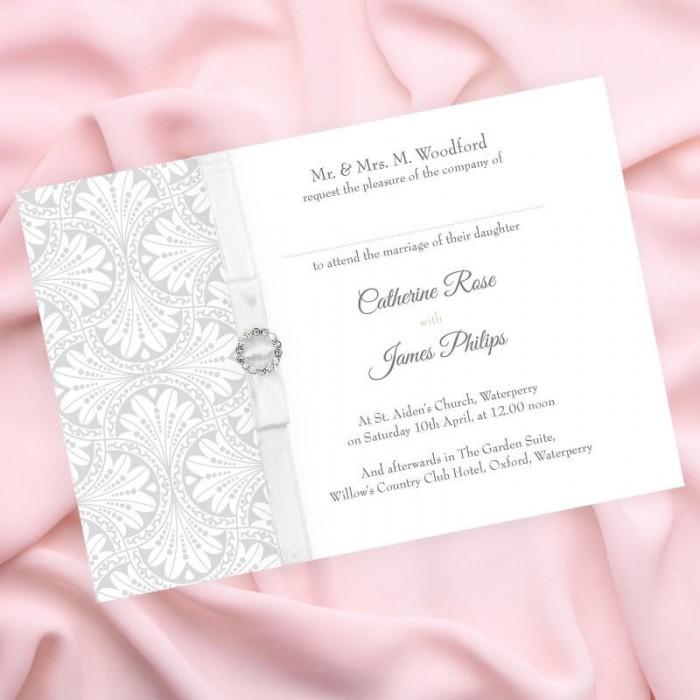 Silver Art Deco Wedding Invitation