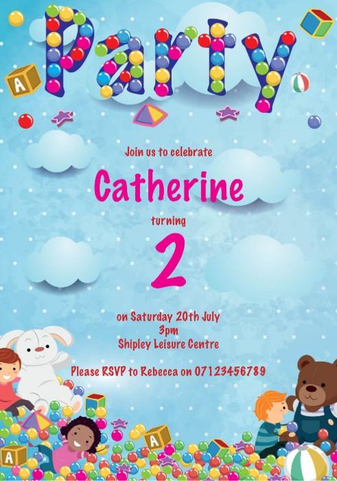Soft Play Toys Birthday Party Invitation