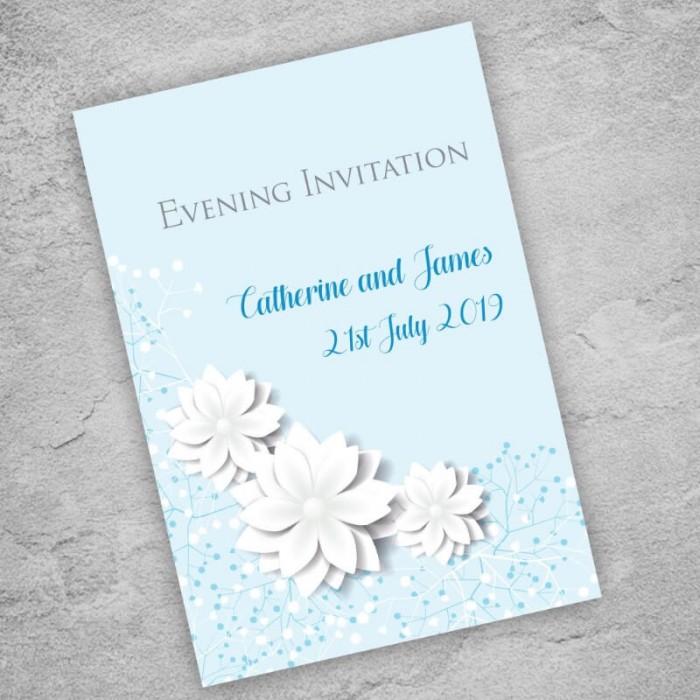 Blue Summer Blossom Evening Invitation