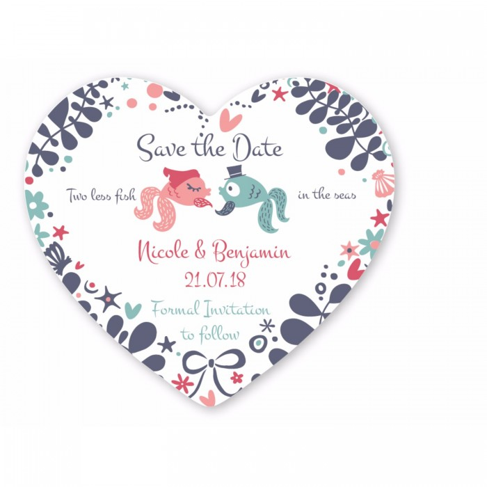 Two Less Fish Save the Date Coaster