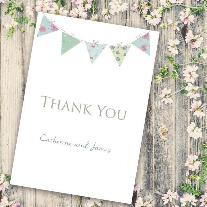 Bunting Fun Thank you Card | Paper Themes Wedding Invites