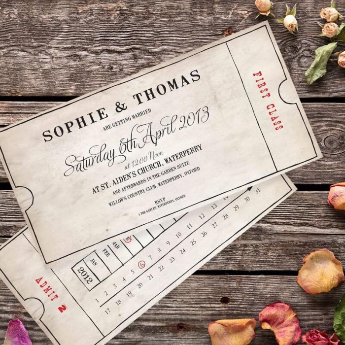 Vintage Bus Ticket Wedding Invitation