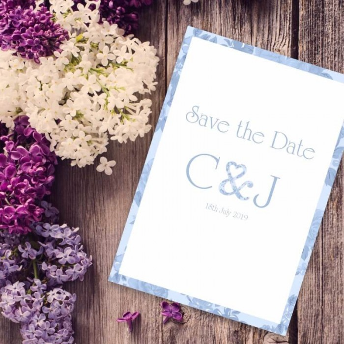 Blue Vintage Charm Save the Date Card