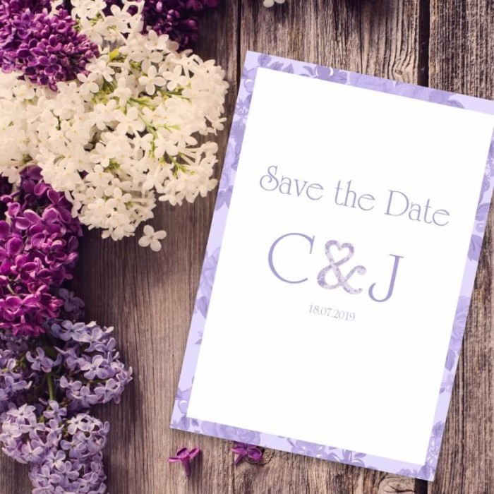 Purple Vintage Charm Save the Date Card