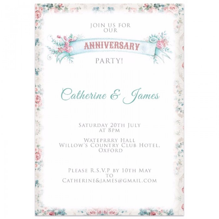Vintage Flowers Wedding Anniversary Invitations