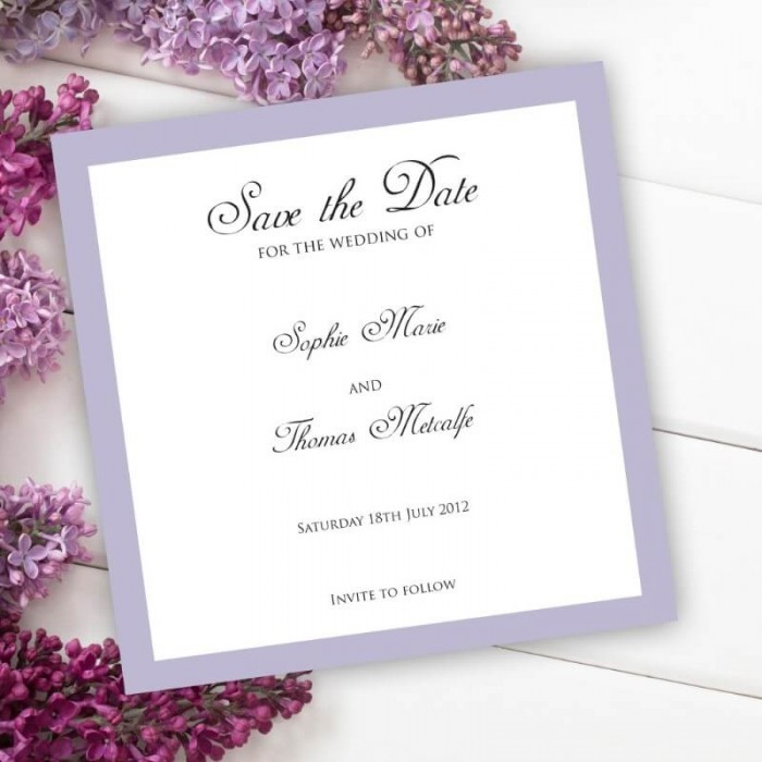 Violet Diamante Buckle Save the Date Card