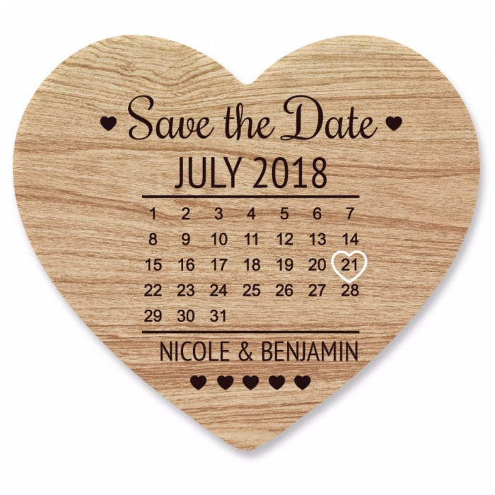 Heart Save the Date Coaster