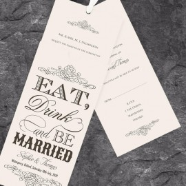 Almond Eat Drink & Be Married Wedding Invitation