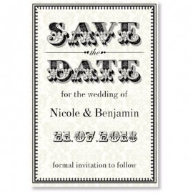 Black & Cream Save the Date Card